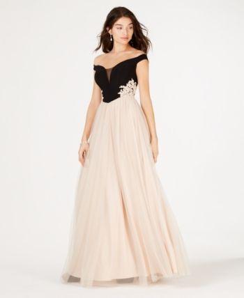 aeb643071d4 Blondie Nites Juniors  Off-The-Shoulder Applique Gown - Ivory Cream ...
