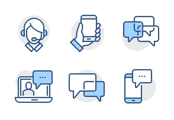 Blueline Communication Icons By S Leonov Communication Icon Communication Icon