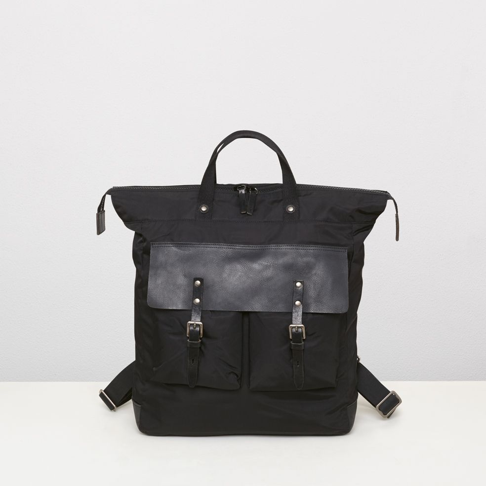62e0e06c46 Nylon and leather rucksack in black | Ally Capellino | Ally Capellino Hobo  Bag, Women's