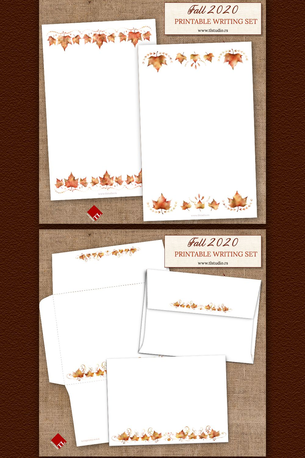 Printable Fall Stationery Writing Set 2 In 2020 Printable Stationery Stationery Set Digital Scrapbook Paper