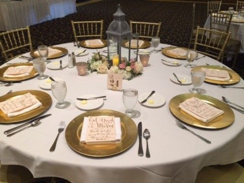 Table settings by IMU, Gold Chargers by Soiree, Table Numbers and ...