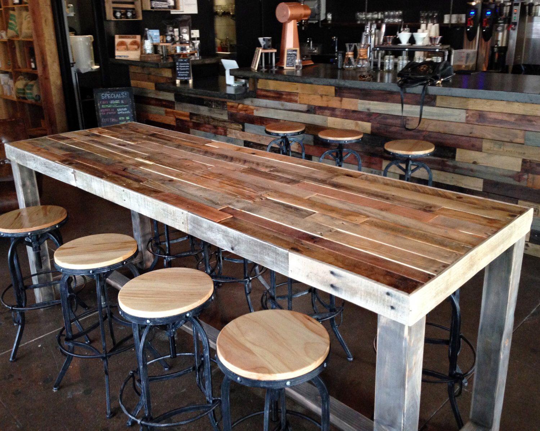 Reclaimed Wood Bar Table Restaurant Counter Community Communal Etsy Reclaimed Wood Bars Wood Bar Table Bar Table Rustic high top table and chairs