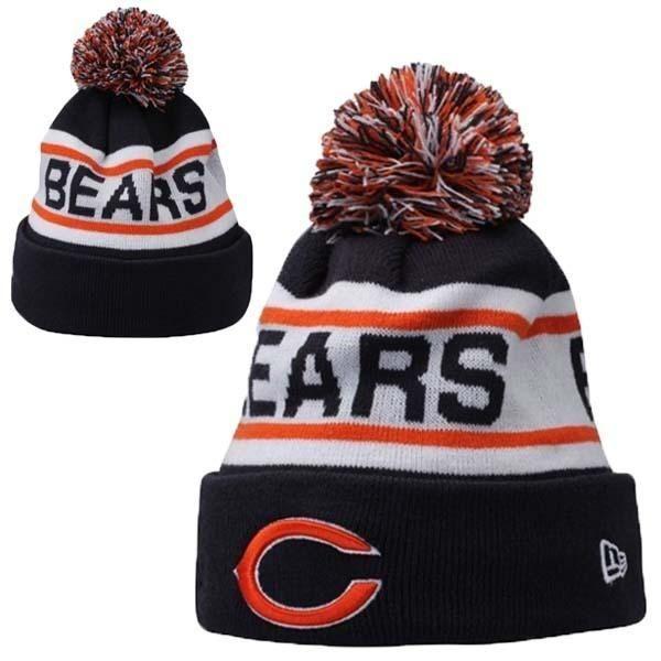 67890f42d Mens   Womens Chicago Bears New Era NFL Biggest Fan Redux Cuffed Knit Pom  Pom Beanie Hat - Navy   White