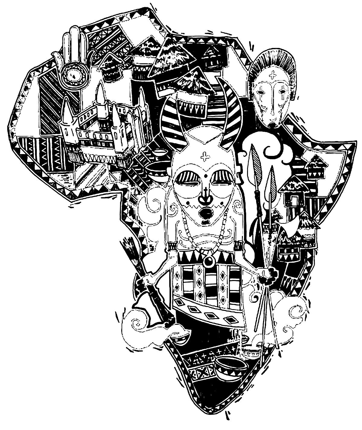 Coloring pictures continents - Free Coloring Page Coloring Adult Africa Difficult Map The African Continent