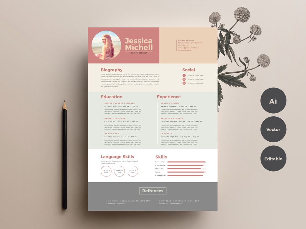 Here is free elegant colorful resume template that has simple design