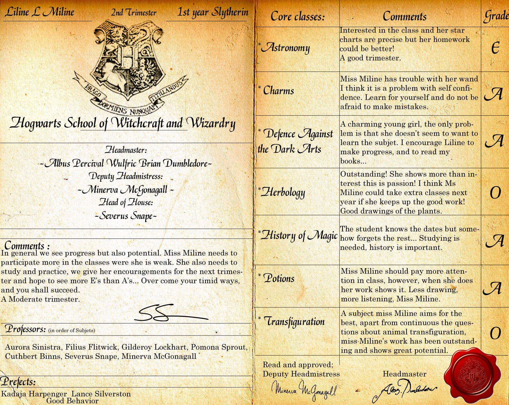 Hogwarts Reportcard Psd By Lost In Hogwarts On Deviantart