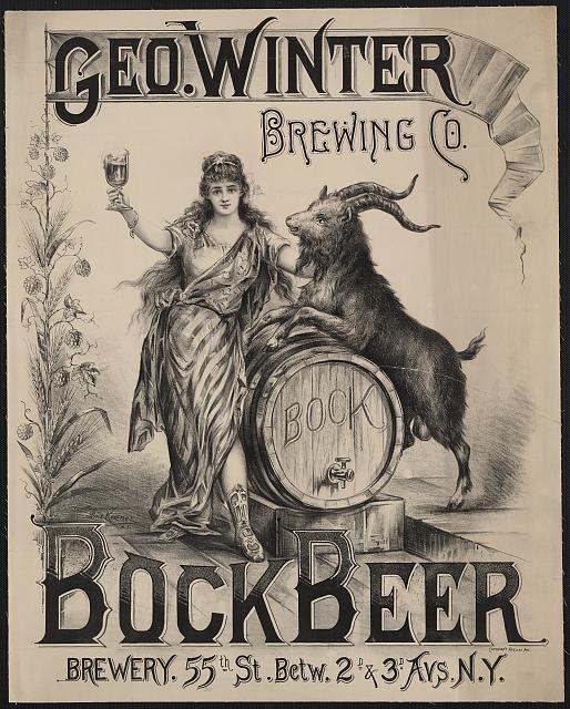 advertising, food, vintage, vintage posters, graphic design, free download, retro prints, classic posters, Geo. Winter Brewing Co., Bock Beer - Vintage Beer Advertising Poster