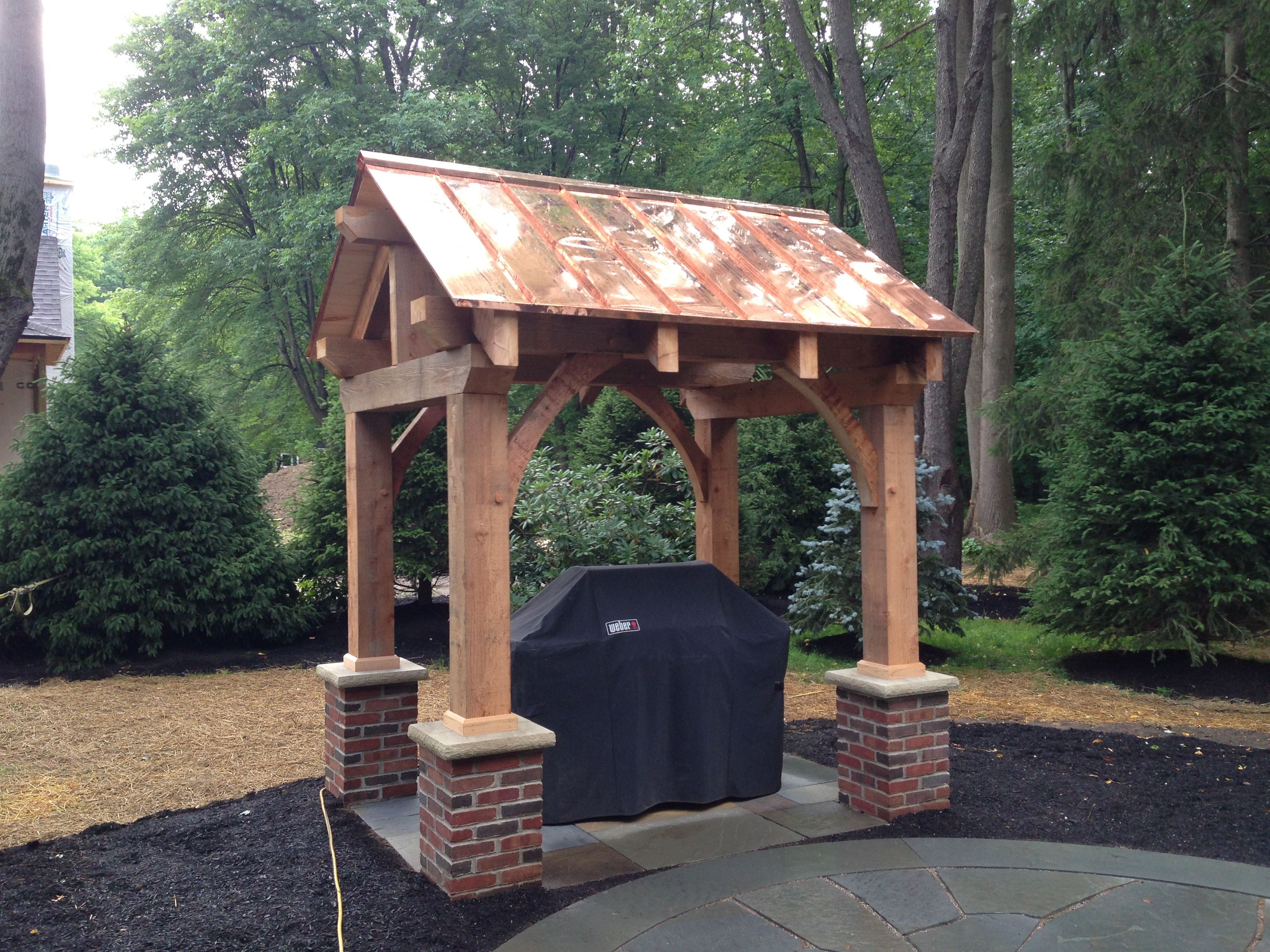 Completed Pergola With A Standing Seam Copper Roof Pergola With Roof Copper Roof Outdoor Pergola