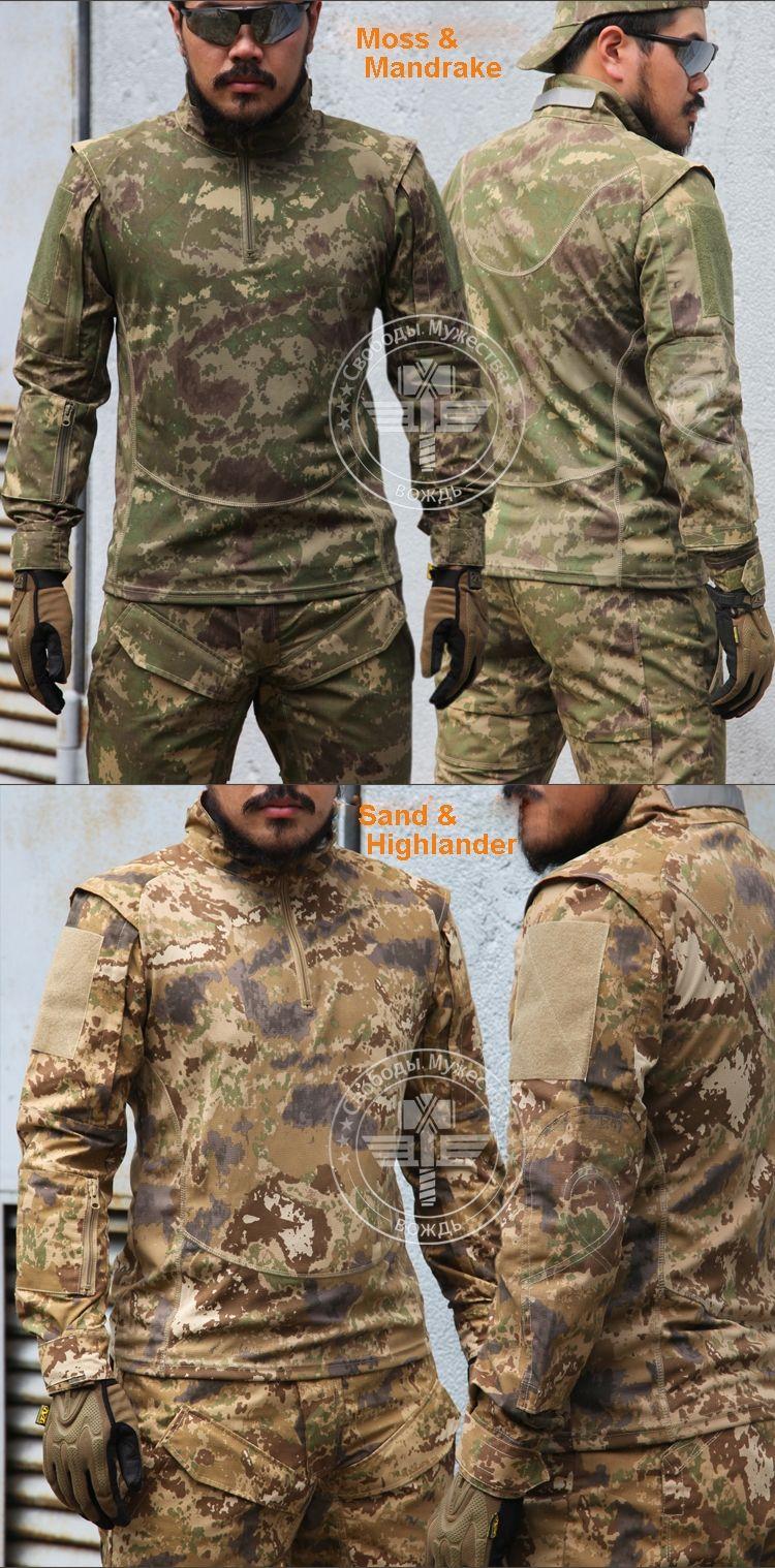 217944eb6e9e Natural Camo patchwork Combat Shirt Lightweight Long sleeve Trainning Shirt  Sand move