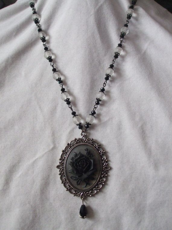 Black rose Victorian / Gothic style cameo by MidnightDesires, $25.00