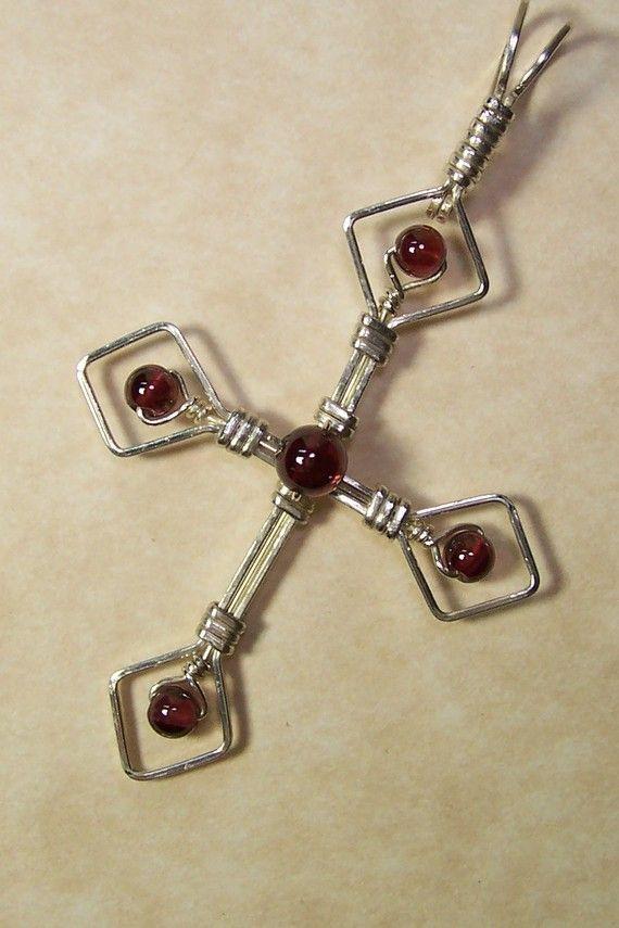 Silver Wire Wrap Gemstone Cross Pendant -Garnet-Handmade Wire Wrap ...