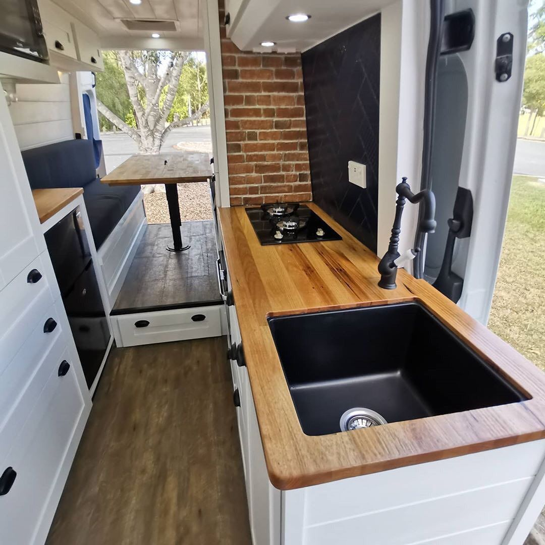 """Photo of Van Boy Life on Instagram: """"• Another recently converted van to roll out of the @_tinyhomecampers_ workshop🛠 . With the farm house style bathroom and rear cupboard…"""""""