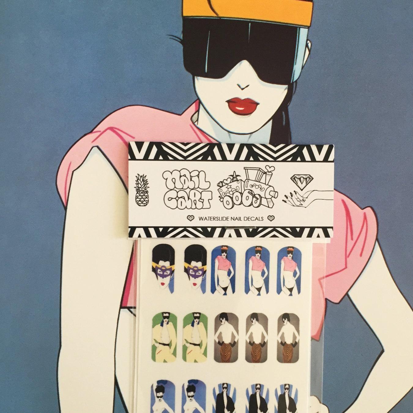 Patrick Nagel Vintage 80\'s 90\'s Art Deco Nail Decals Nail Art Nail ...