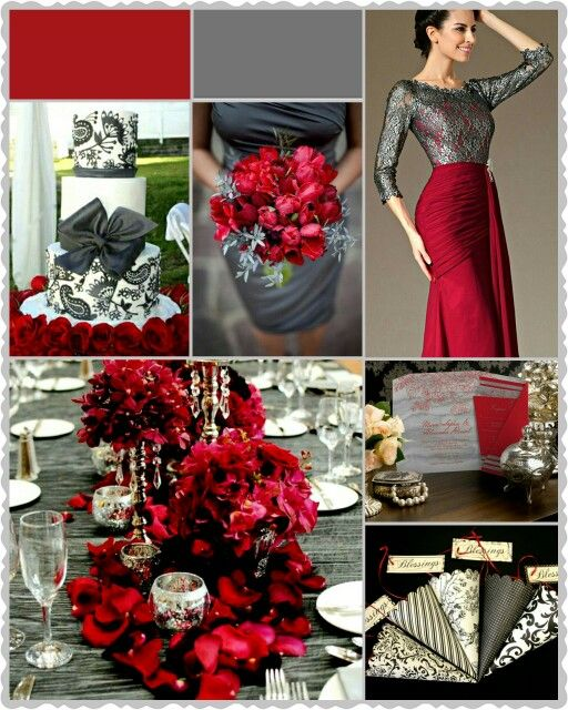 Charcoal Grey & Ruby Red Wedding Colours