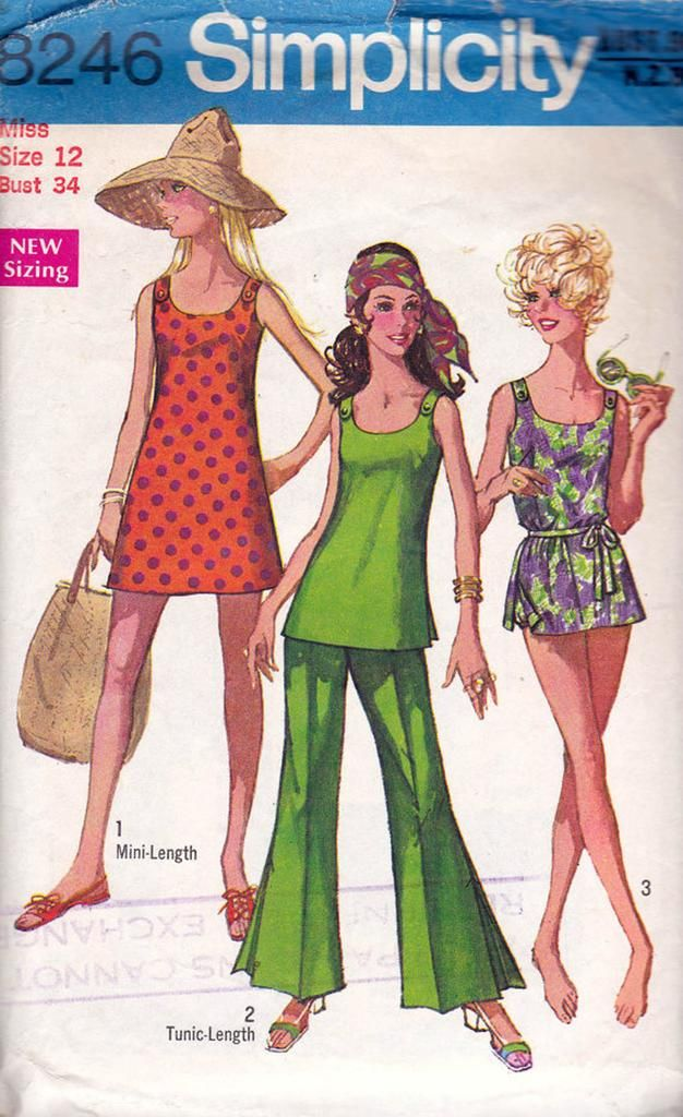 Swimsuit Mini Dress Bell bottom pants pattern 1960s Vintage Simplicity 8246 Bathing Suit Sewing Pattern Size 12 Bust 34 inches
