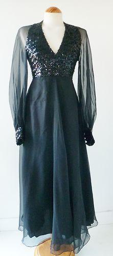 Vintage 70s black sequinned sheer chiffon glam party maxi dress 8-10   eBay