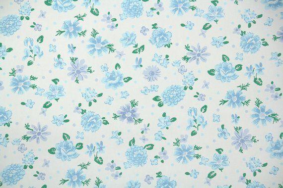 1940 S Vintage Wallpaper Floral Wallpaper With Blue And Etsy Vintage Wallpaper Patterns Periwinkle Flowers Vintage Wallpaper