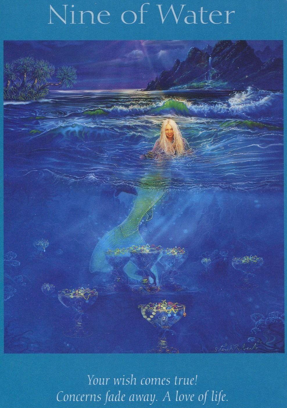 Angel tarot card nine of water mermaid painting