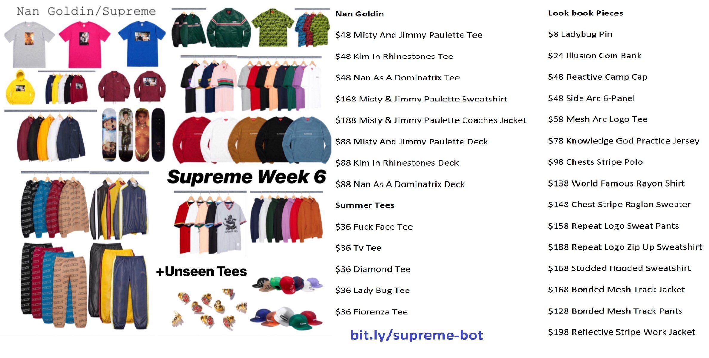 ae0cc43ed Supreme Week 6 Drop List  amp  Retails Nan Goldin For Supreme Unseen Summer  Tees  amp