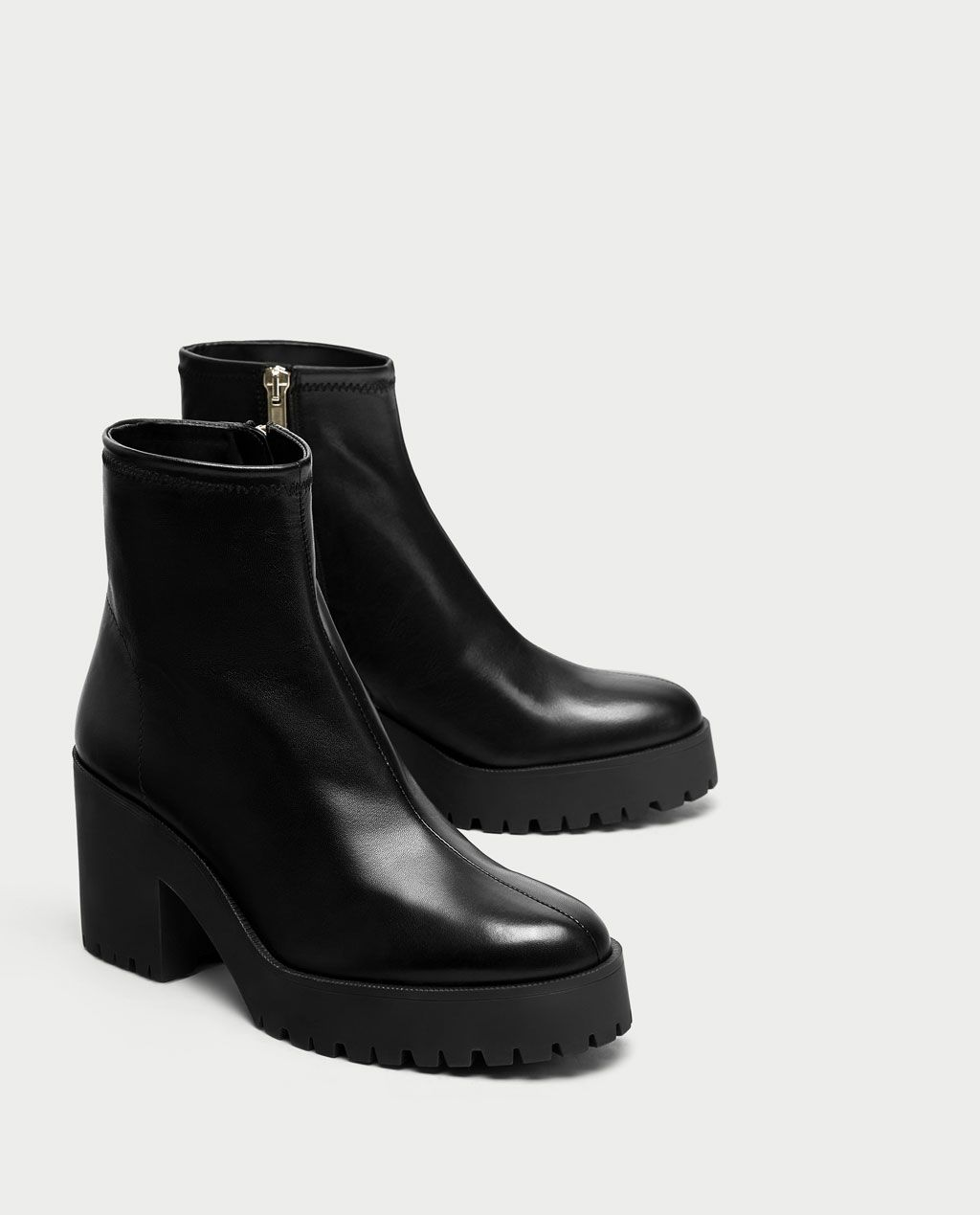 32d55e9f3 Image 1 of LEATHER HIGH HEEL ANKLE BOOTS WITH TRACK SOLE from Zara