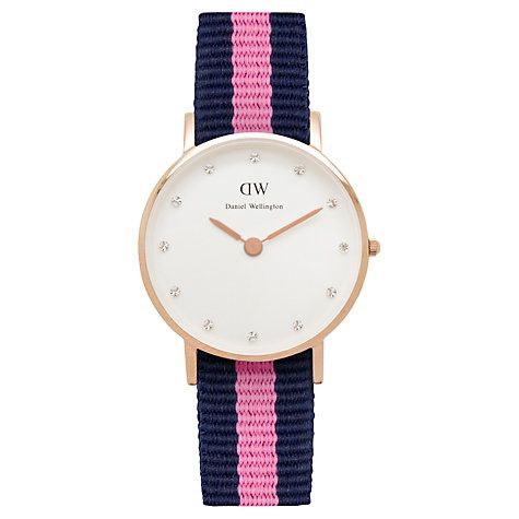 Daniel Wellington Womens Classy Rose Gold Plated Nato Fabric Strap Watch, Navy/Pink