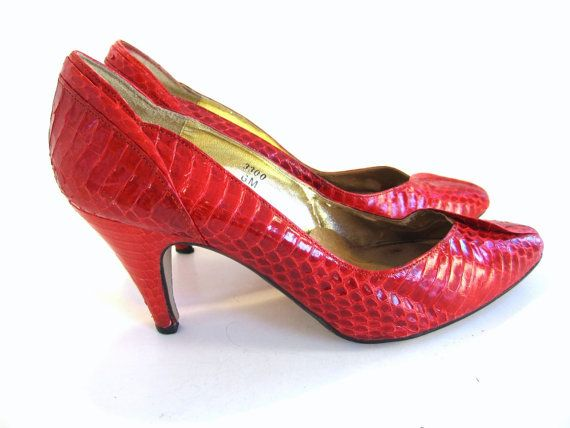 b2c7a4136be11 vintage 80s shoes/ snakeskin leather / vintage 80s shoes by 80love ...