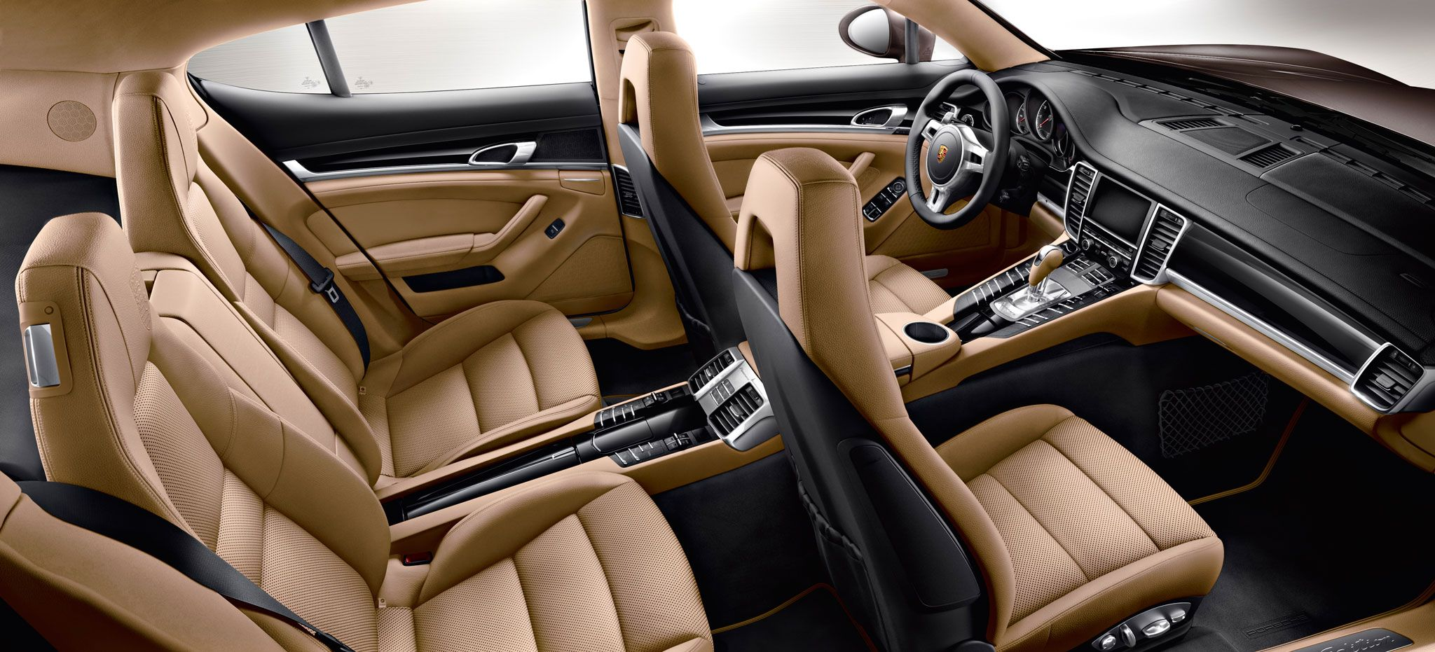 the two tone partial leather interior in black and luxor beige comes standard with the panamera. Black Bedroom Furniture Sets. Home Design Ideas