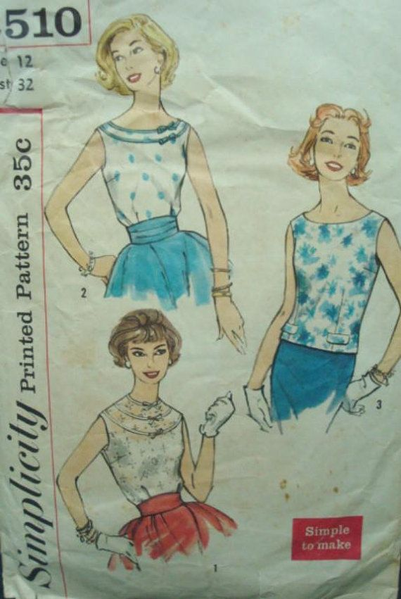 1950s Rat Rod Rockabilly Round Neck Blouse Simple to Make One Yard ...