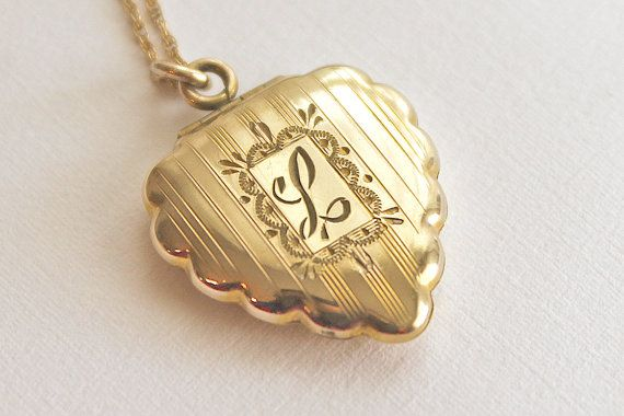 Vintage Gold Filled Heart Locket With Tiny Diamond Antiques In Original Box