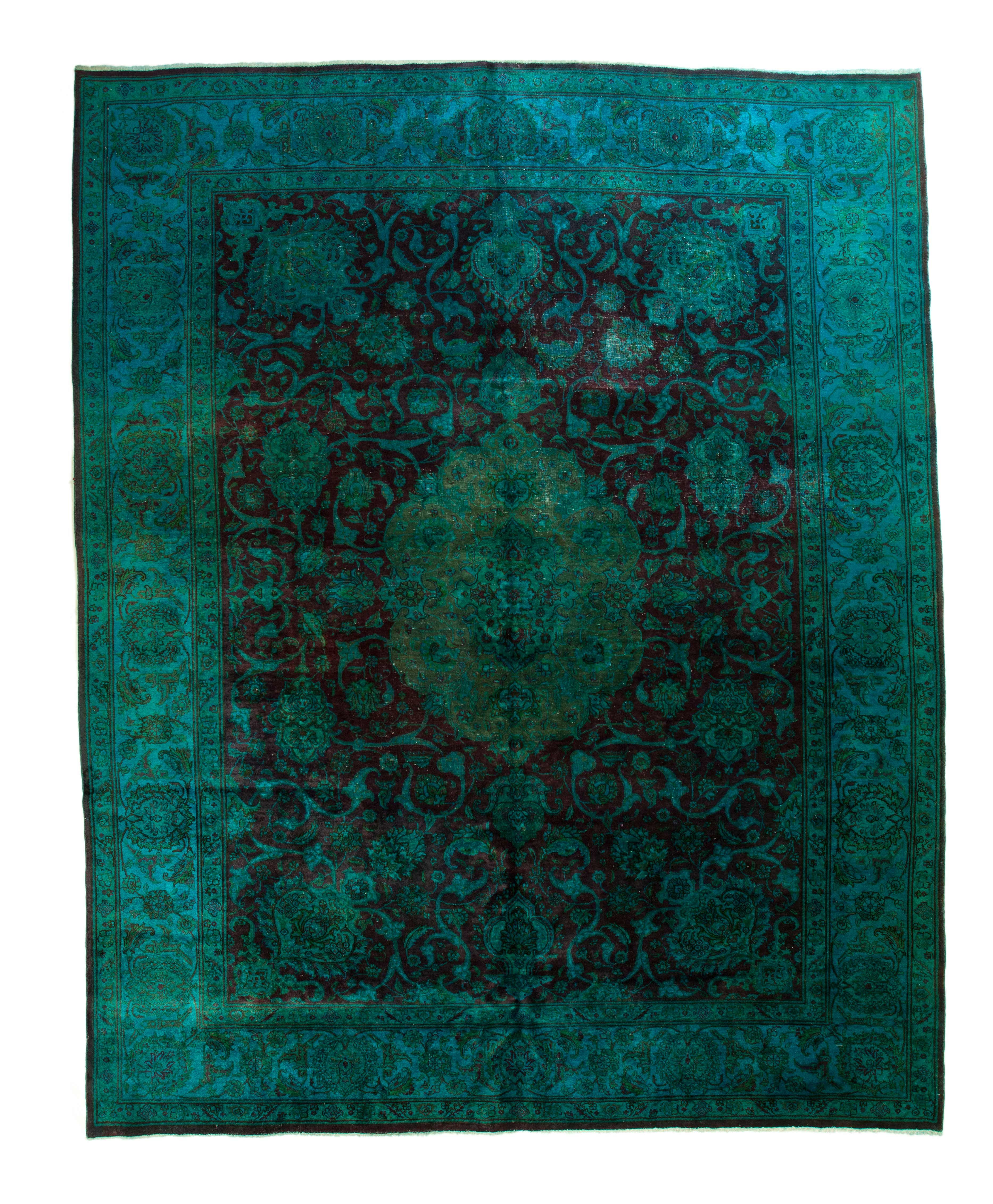 10×12 Overdyed Persian Tabriz Wine Teal Rug 2553