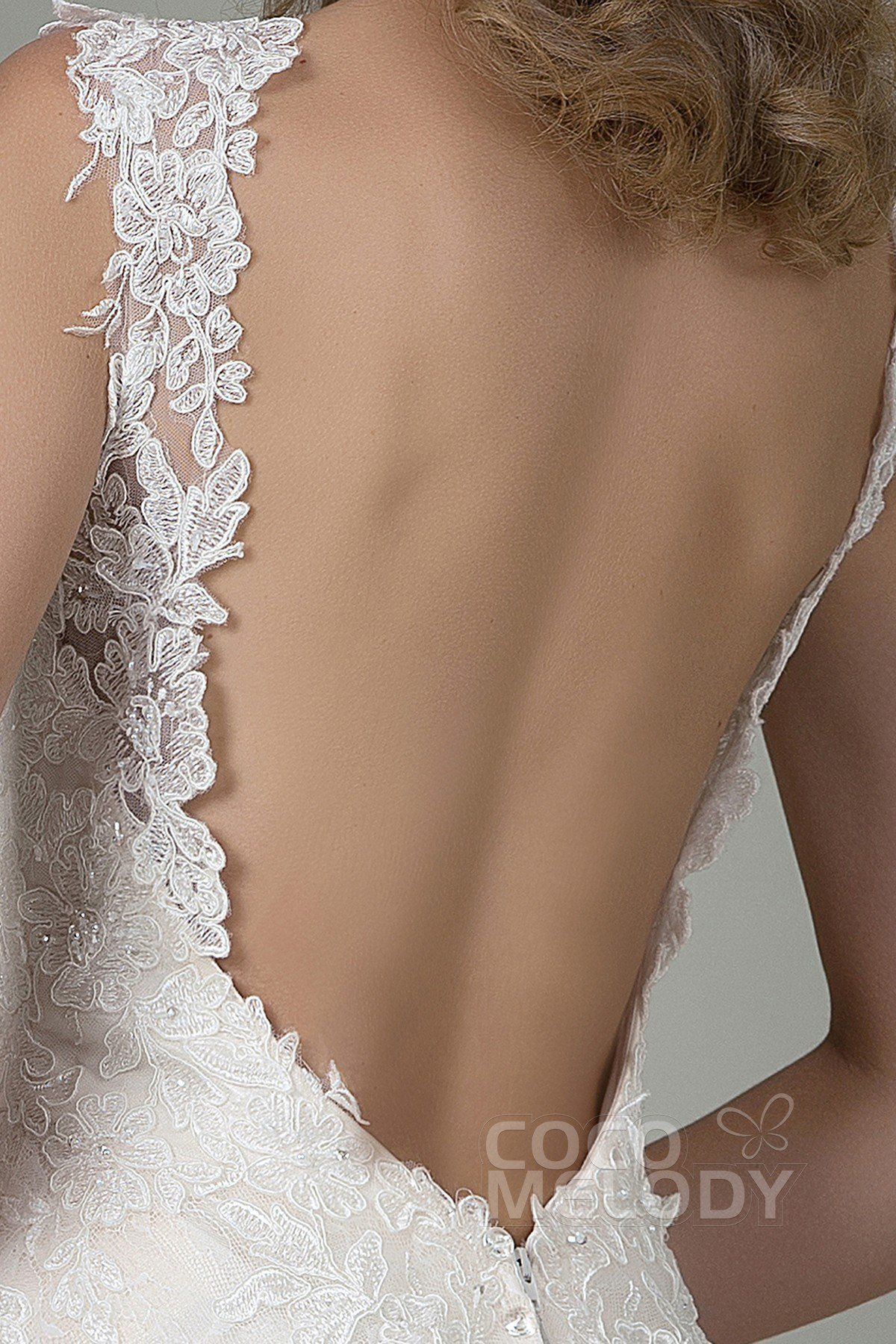 Champagne and ivory wedding dress  Fabulous SheathColumn Straps Natural Train Lace IvoryChampagne