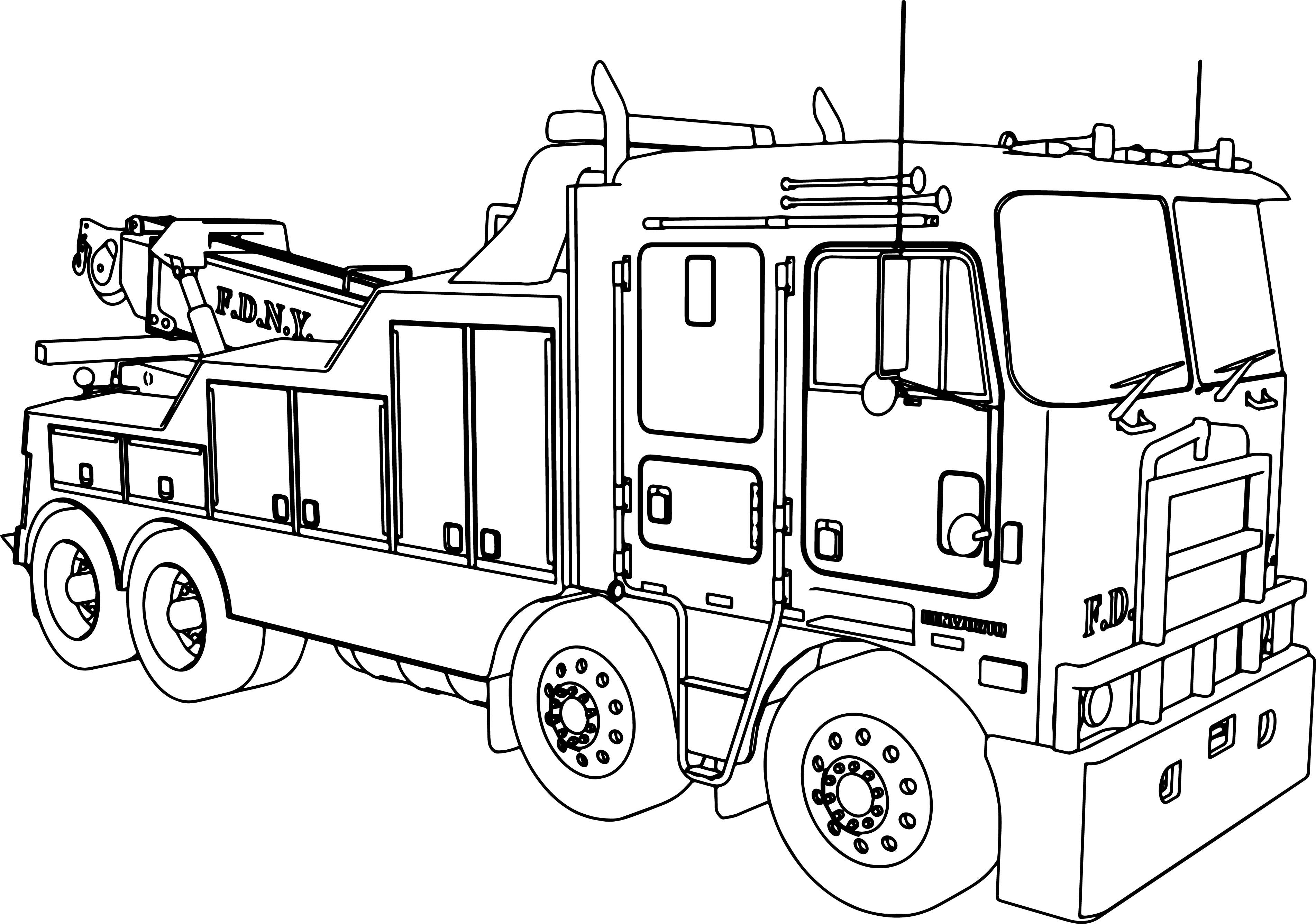 Nice Kenworth Wrecker Fire Truck Coloring Page