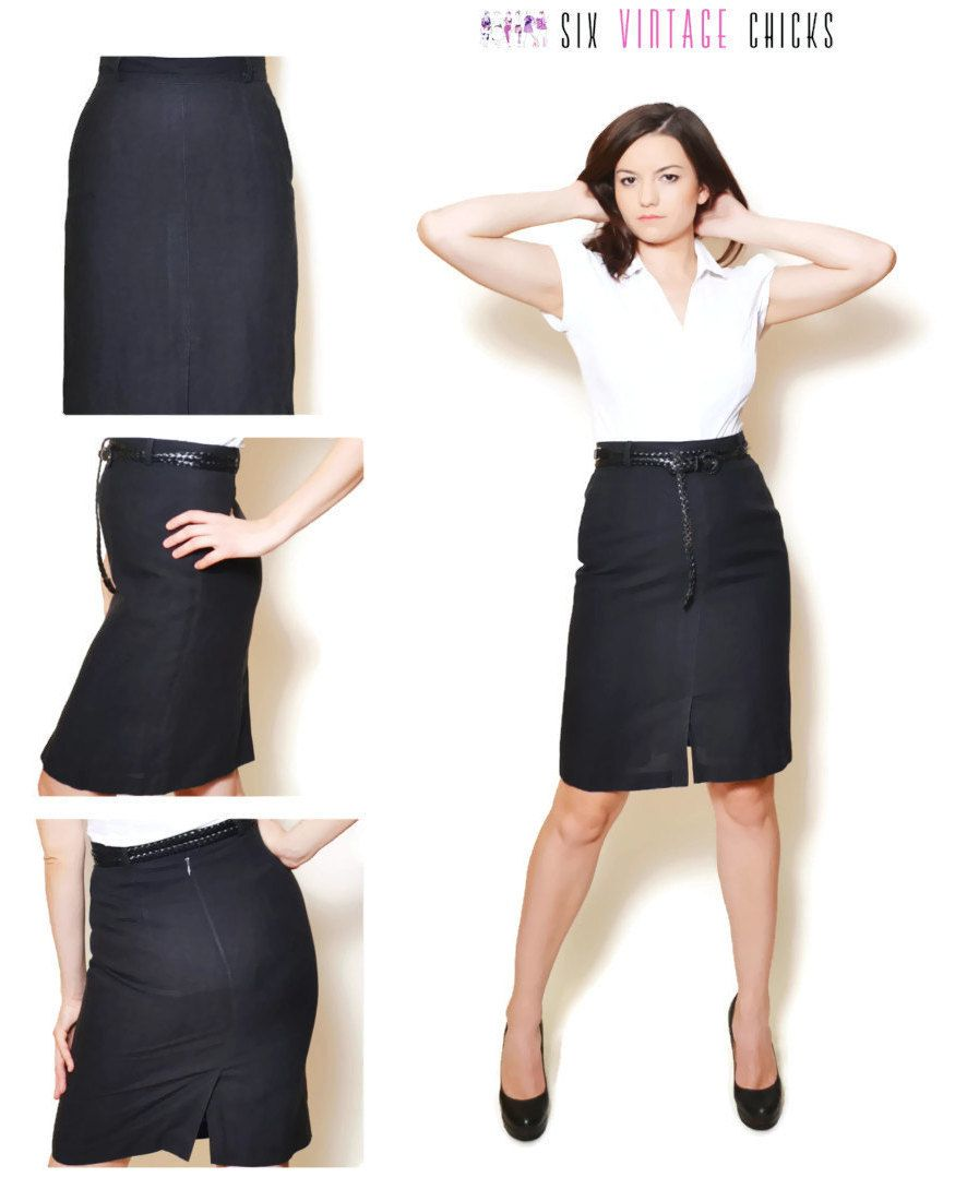 848d45b5e Black Mini Skirt, Elegant High Waisted, Tuzzi, Office Style Elegant Sexy  Pencil skirt, Size S/36 Gift idea for woman, by SixVintageChicks on Etsy
