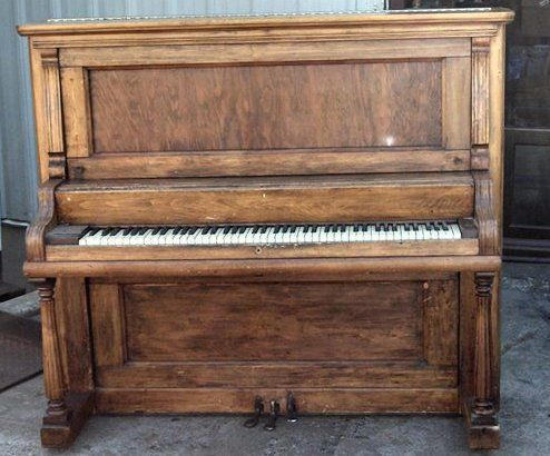 Precise Upright Victorian Piano With Fluting And Inlaid Decoration Well Loved And Used. Antique Furniture Edwardian (1901-1910)