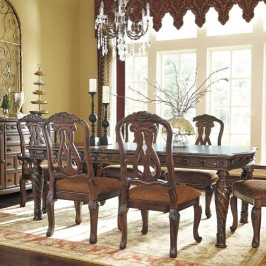 Dine In Grand Traditional Style With The North Shore 7 Piece Dining Set From The North Shore Din With Images Ashley Dining Room Wood Dining Room Dining Room Sets
