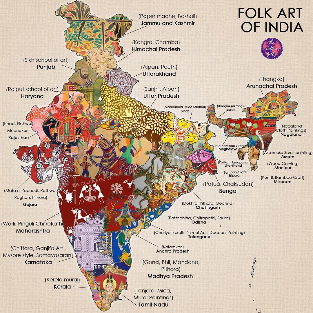 Folk Art Map Of India By The Culture Gully See Instagram Photos And Videos From The Culture Gully Theculturegully India Map History Of India India Art