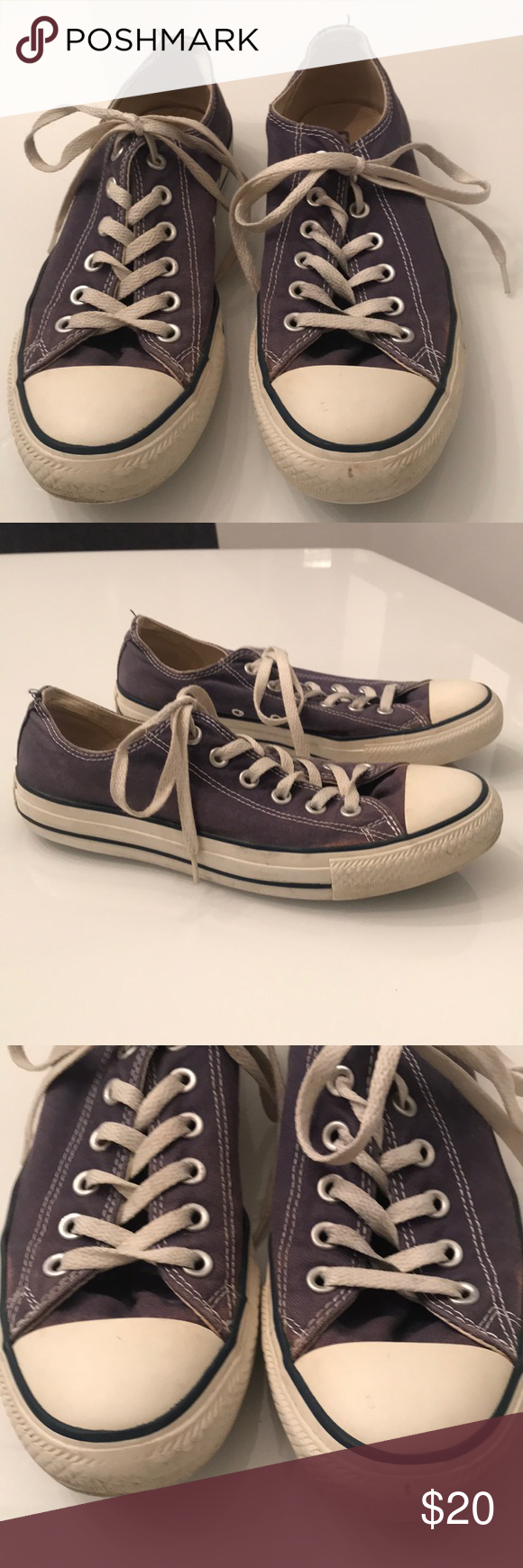 f71c08fc528d Converse Chuck Taylor sneakers! Classic Chuck Taylors in dark blue. All  wear is shown. Soles are in good shape. Converse Shoes Sneakers