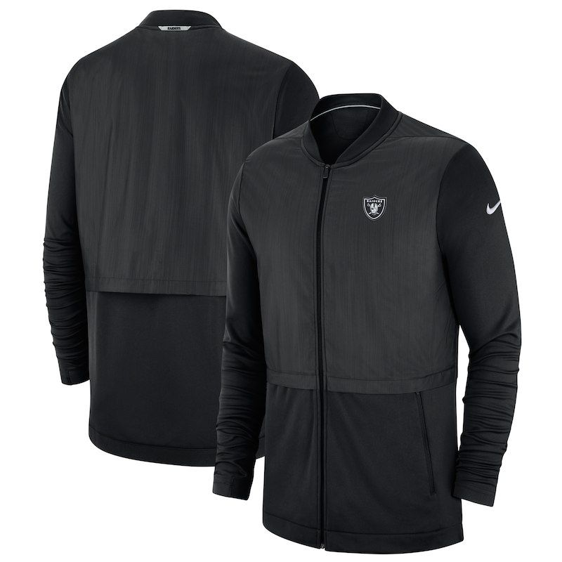 e8bca2bea Oakland Raiders Nike Sideline Elite Hybrid Full-Zip Jacket - Black ...