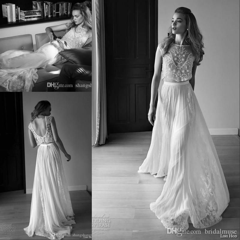 Beach Wedding Dresses 2016 Lace Vintage A Line Sheer Neck Bohemian ...