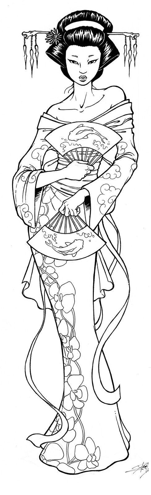 Coloriage Adulte Geisha.Activite Coloriage Geisha Coloriage Coloriage Zen Et