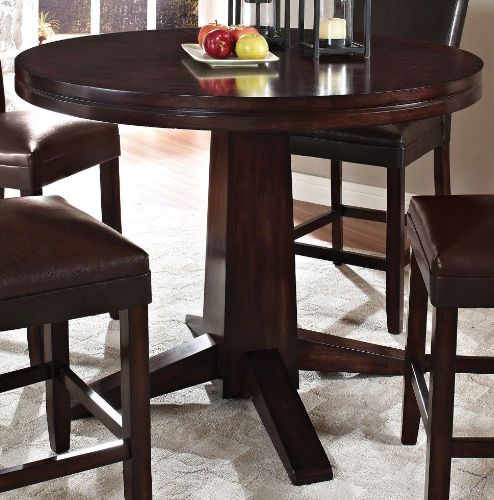 Inch Contemporary Round Hard Wood Counter Height Dining Table And - 48 inch round contemporary dining table