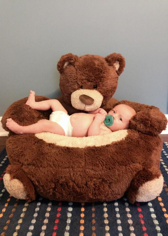 Baby Monthly Photo With Bear Chair R 1 Month Old Baby Month By