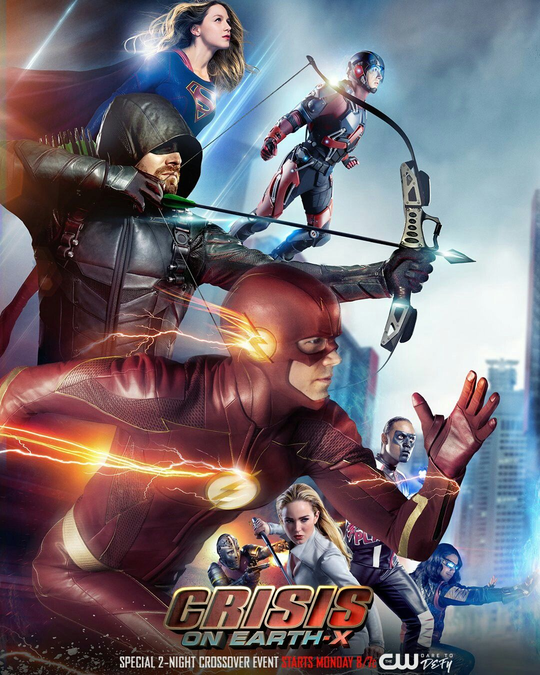 Image result for the flash arrow legends of tomorrow supergirl crossover poster