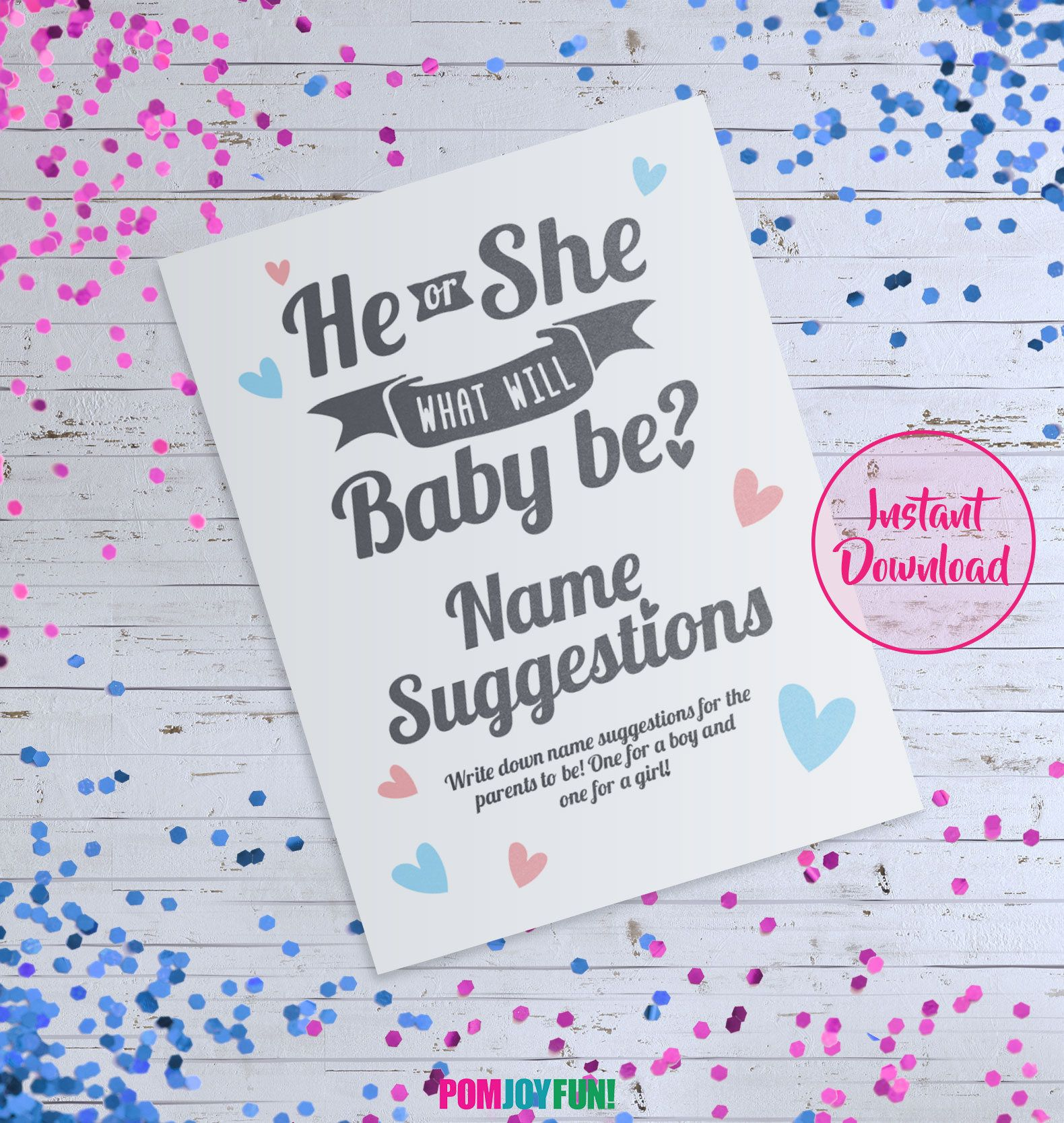 He or She What Will Baby Be Sign, Name Suggestion Card