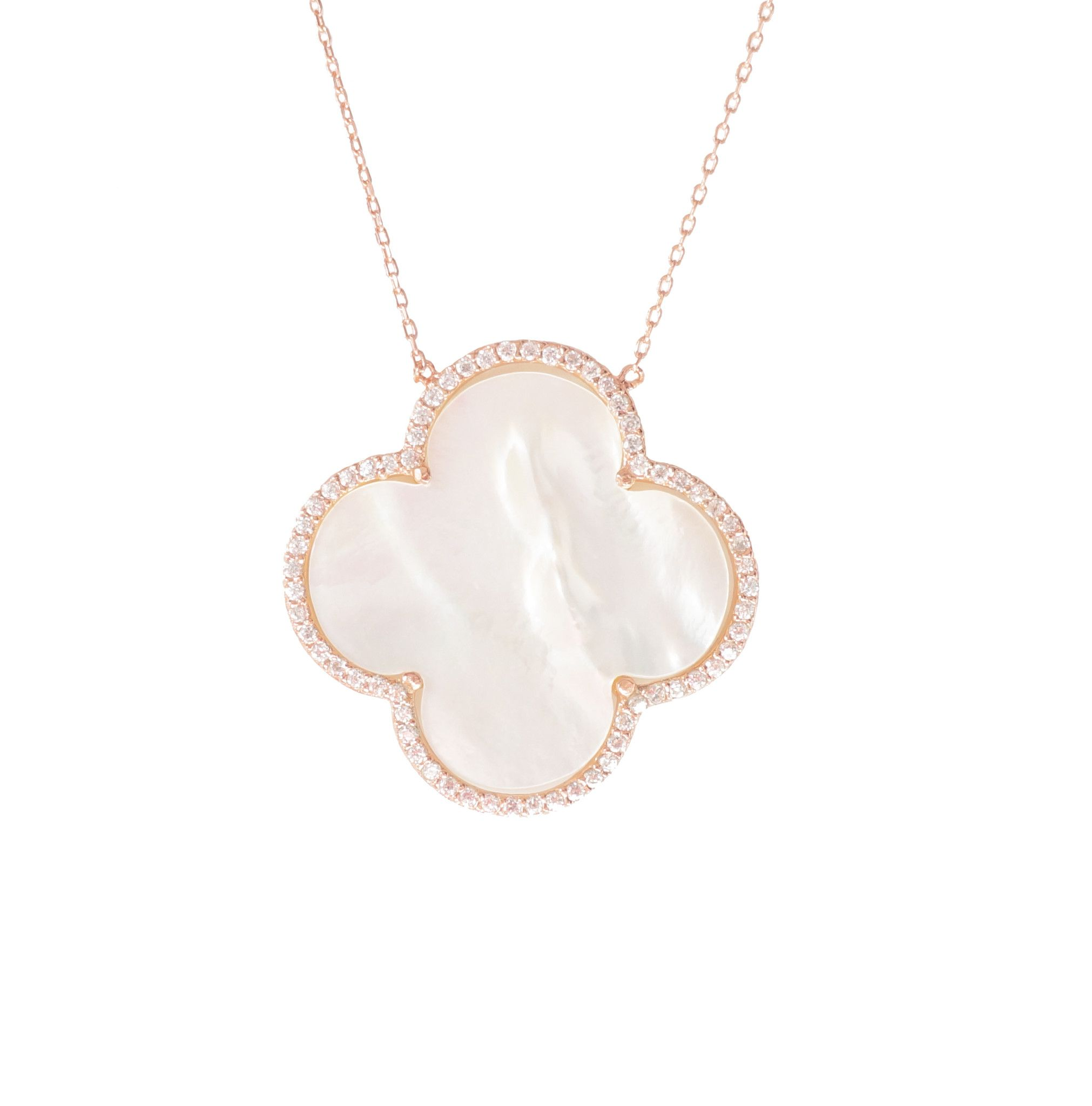 clover jewelry gallery four gold metallic lyst leaf pendant necklace in chanel
