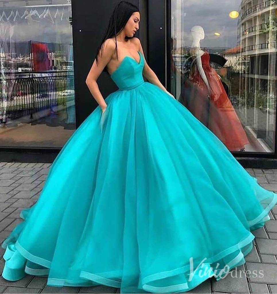 Simple Strapless Fluffy Ball Gown Quinceanera Dresses Vintage Prom Dress Fd2098 Ball Dresses Ball Gowns Prom Prom Dresses [ 1024 x 965 Pixel ]