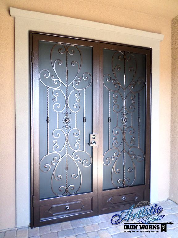 Scrolled wrought iron french security doors wrought iron for Security screen doors for french doors