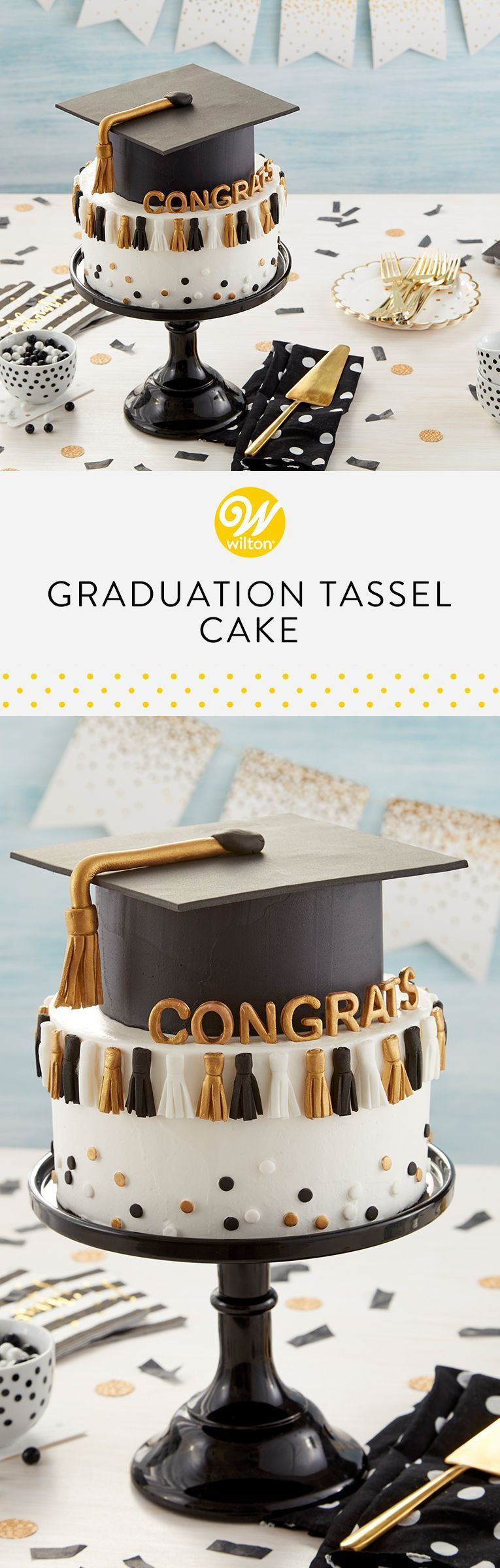 Cake This Graduation Tassel Cake, completed with a gum paste graduation cap and fondant tassels, is the perfect cake for celebrating your graduate's accomplishments! Customize the message for a personal touch!This Graduation Tassel Cake, completed with a gum paste gr...Tassel