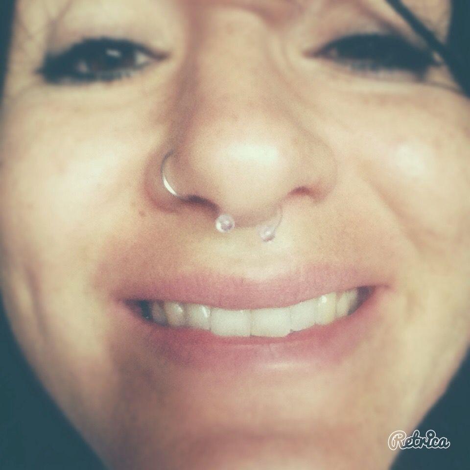 Double nose piercing plus septum  septum piercing nice  Piercing and Tattoos  Pinterest  Piercing
