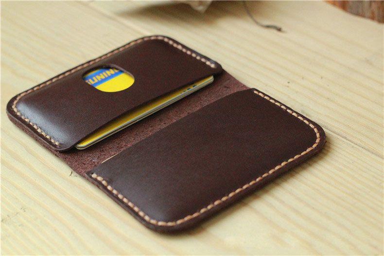 Handmade Leather Card Case / Slim Card Holder / Minimal Leather Wallet / Cash Card Holder—T26